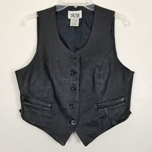 Star Cody Leather Vest Button Front Pockets Large